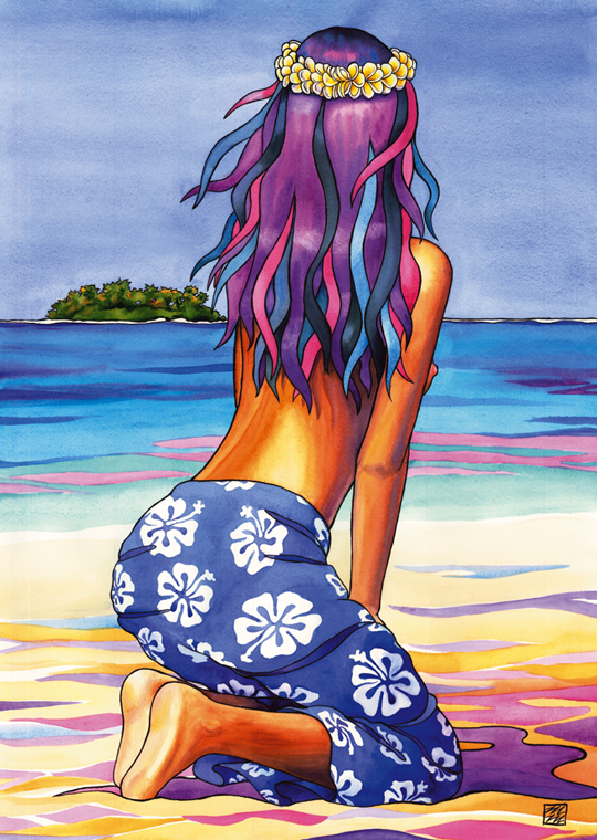 Woman in Blue Sarong