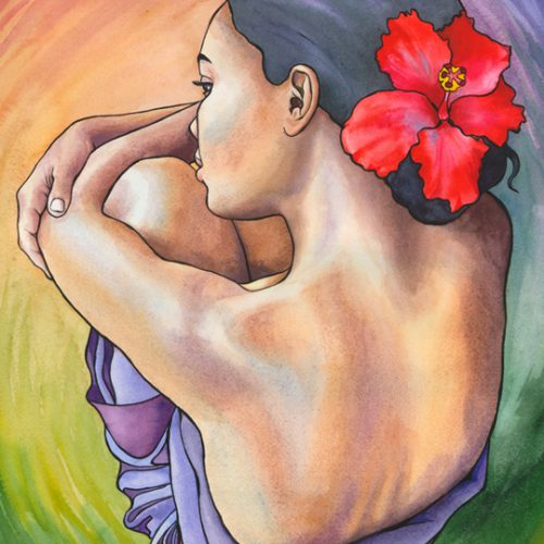 Woman With Red Hibiscus